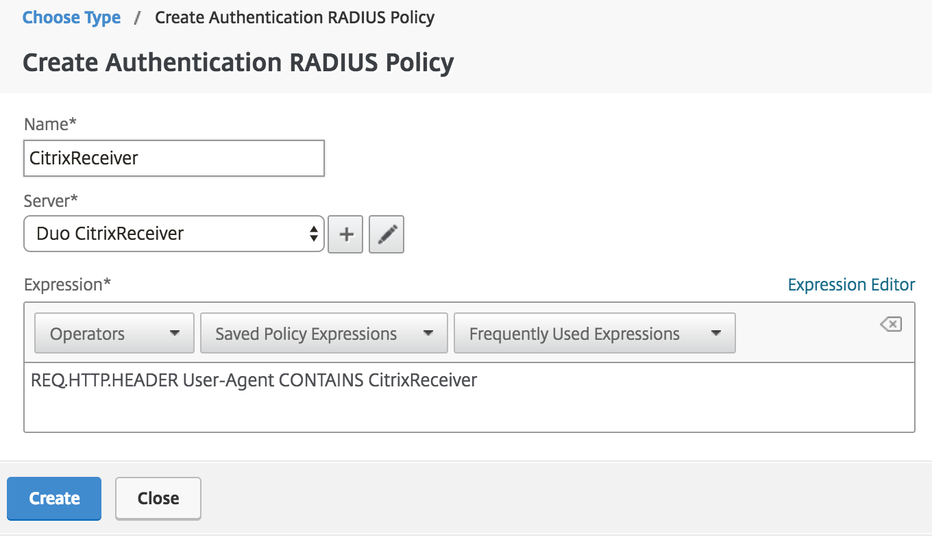 Create Receiver Authentication Policy