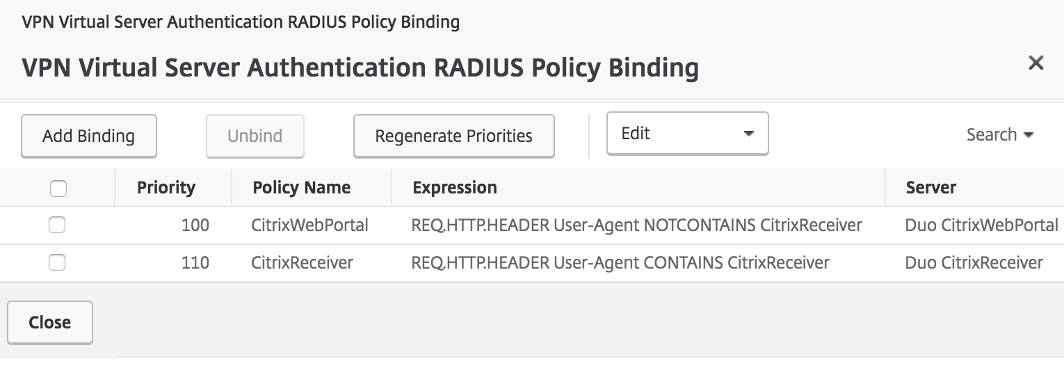 Duo Primary RADIUS Authentication Policies