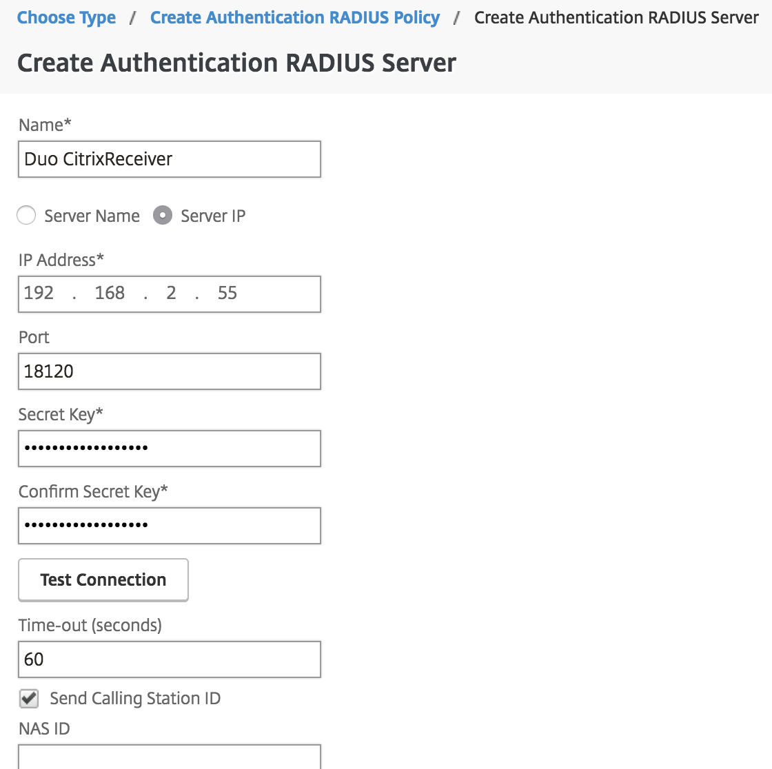 Create RADIUS server for auto