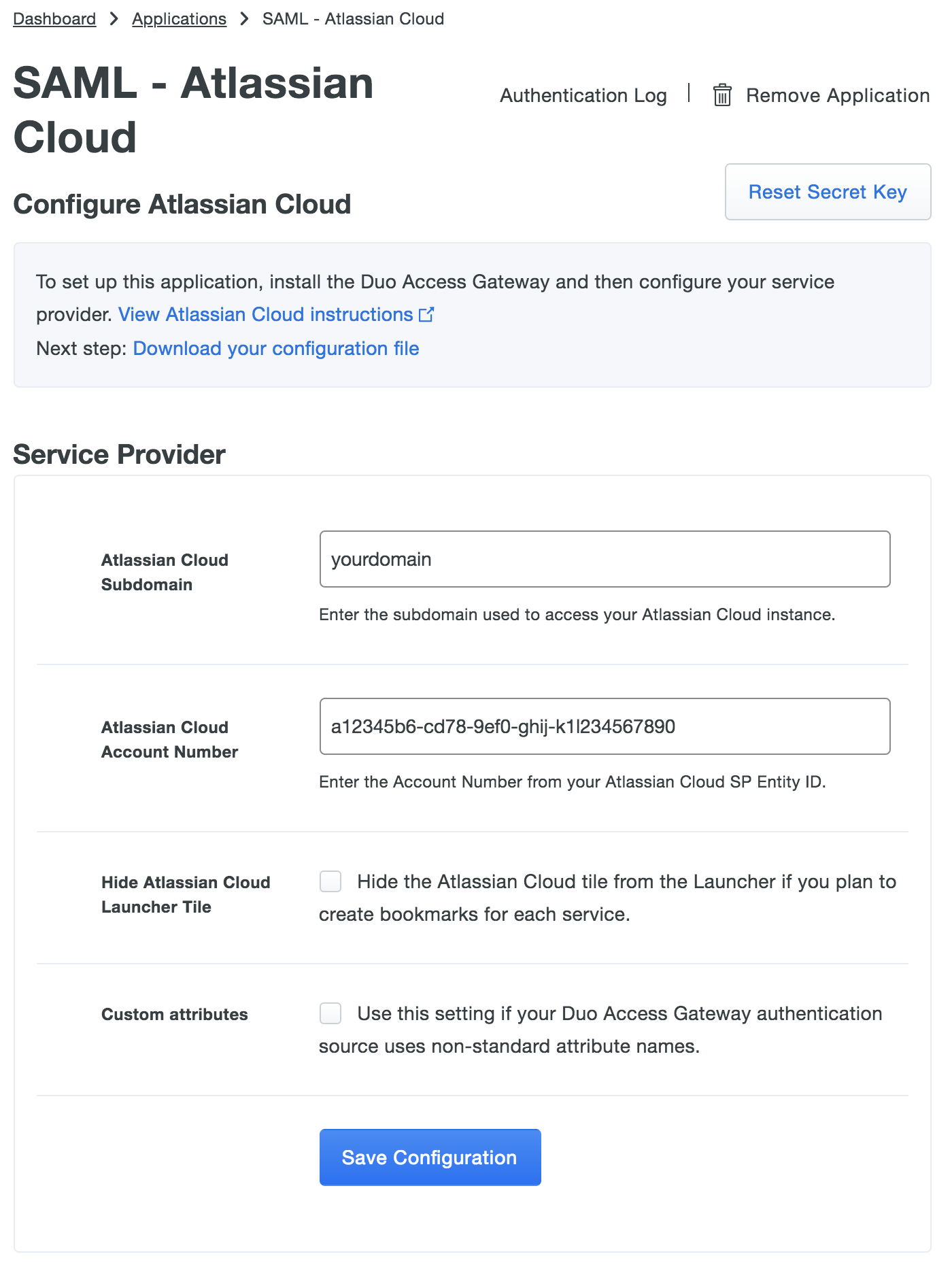 Duo Atlassian Cloud Application Settings
