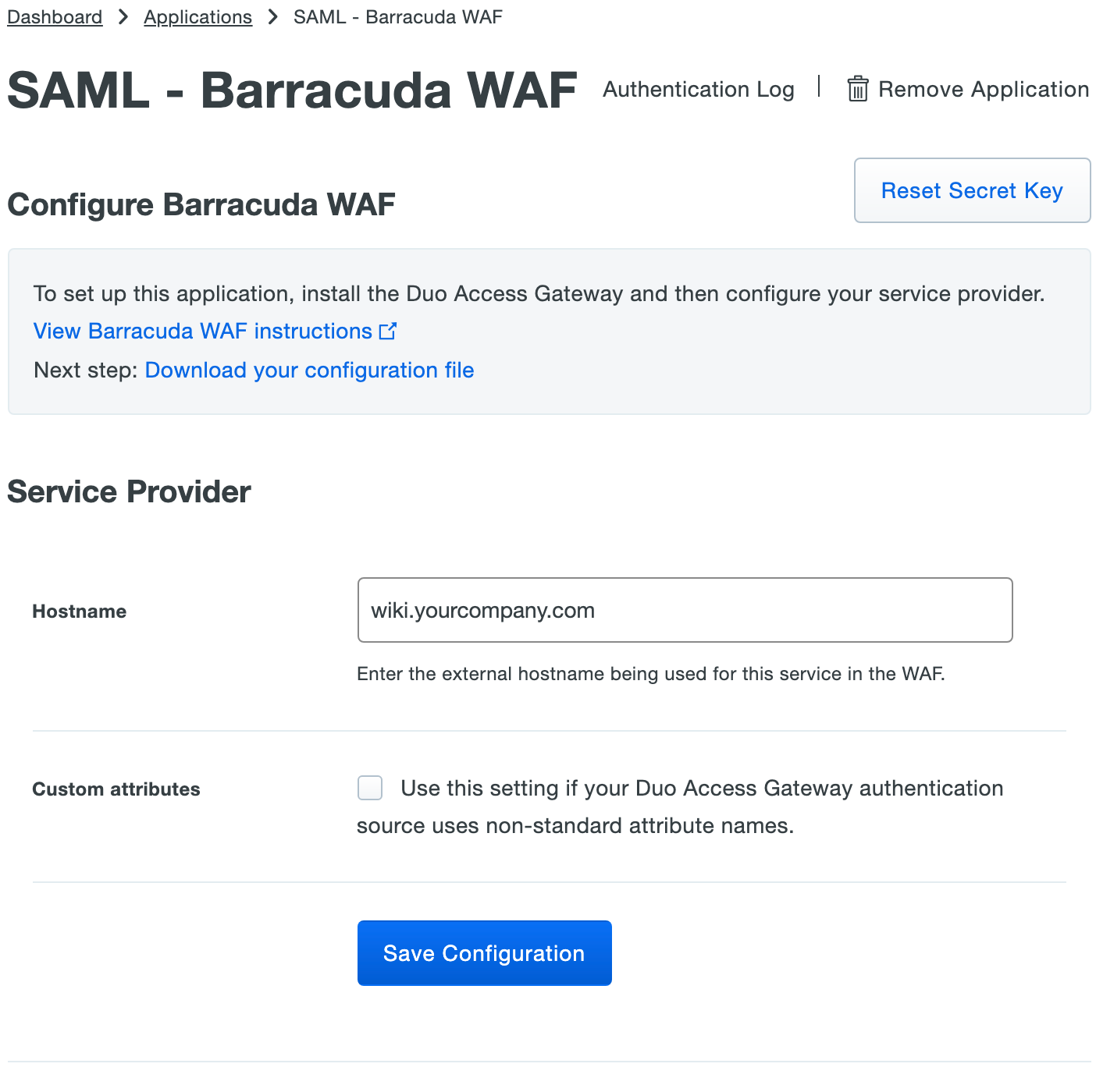 Duo Barracuda WAF Application Settings