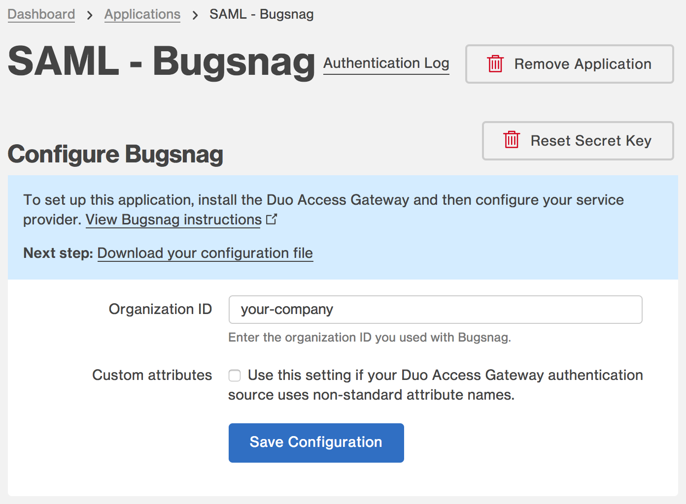Duo Bugsnag Application Settings