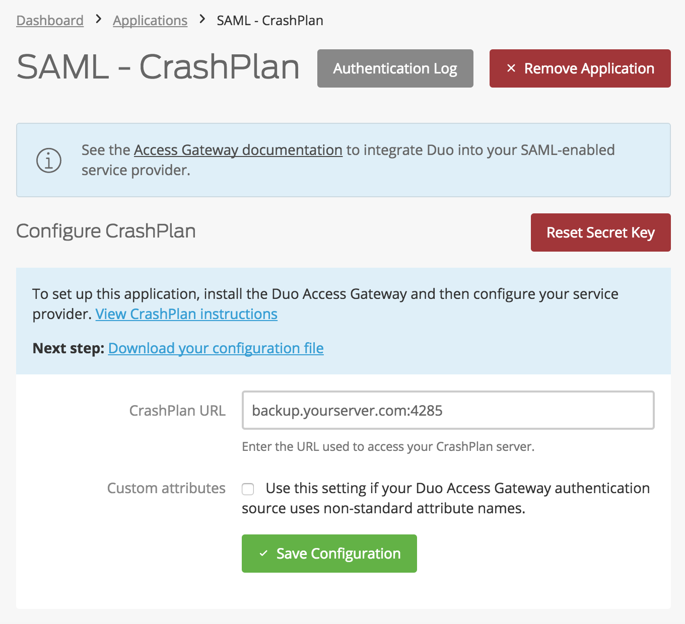 Duo CrashPlan Application Settings