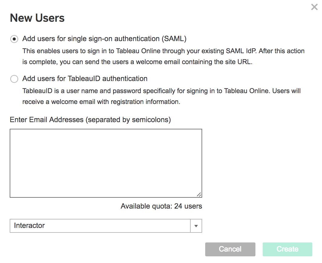 Enable Tableau SSO for new users