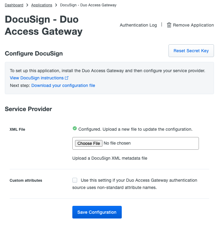 Duo DocuSign Application Settings