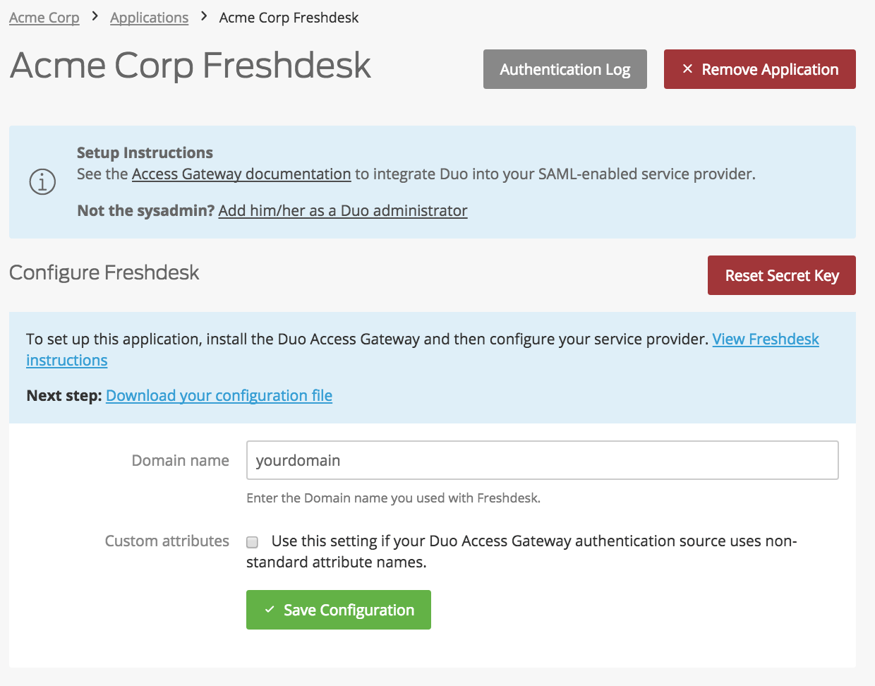 Duo Freshdesk Application Settings