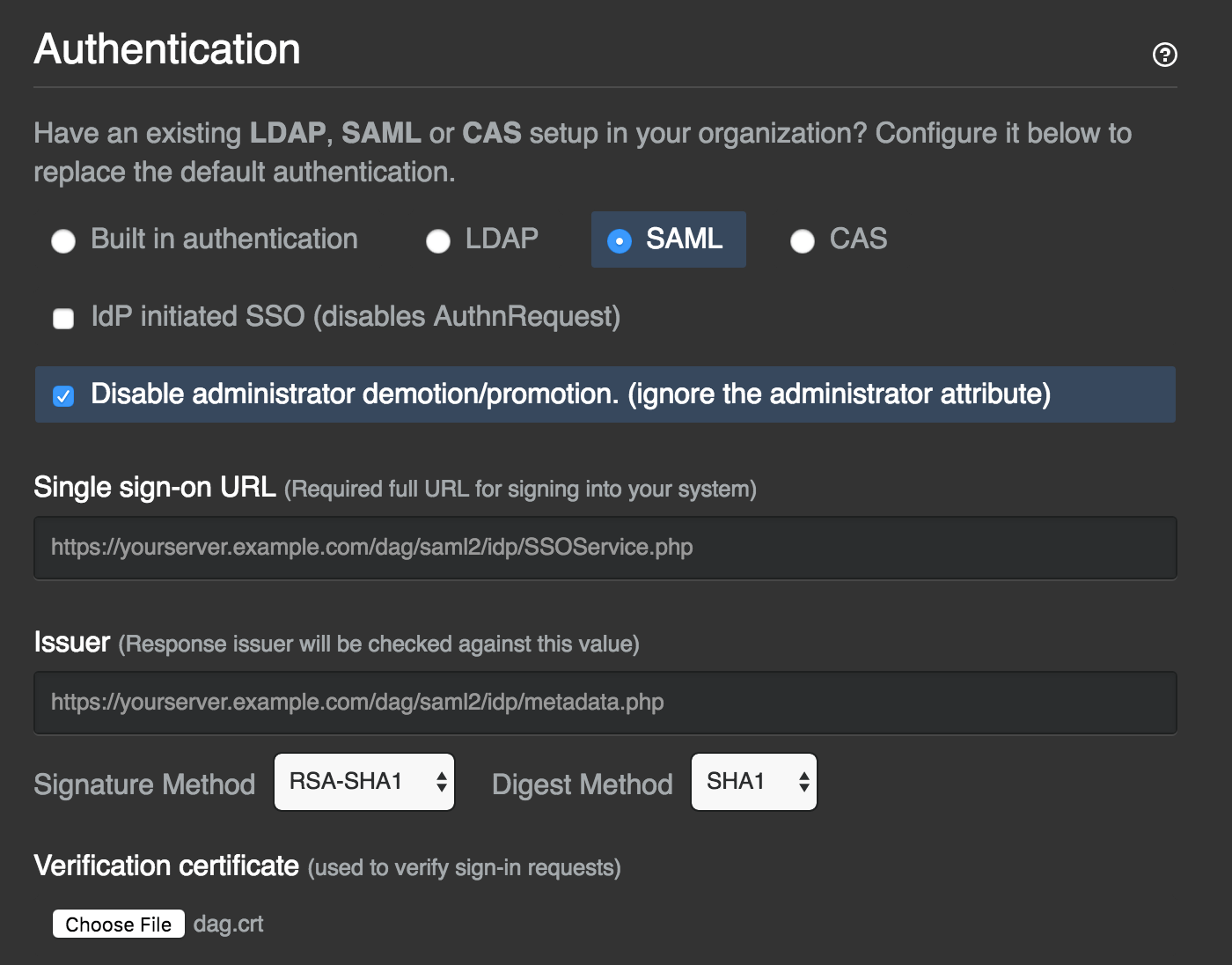 GitHub Enterprise Single Sign-On  Settings