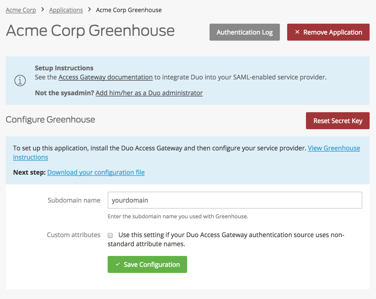 Duo Greenhouse Application Settings
