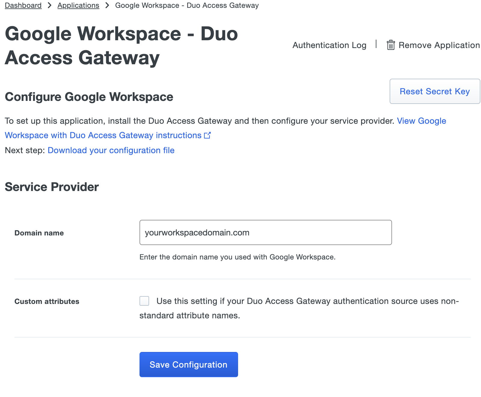 Duo G Suite Application Settings