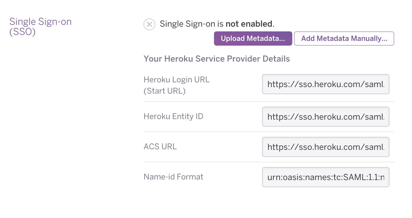 Heroku Single Sign-On Setting Edit