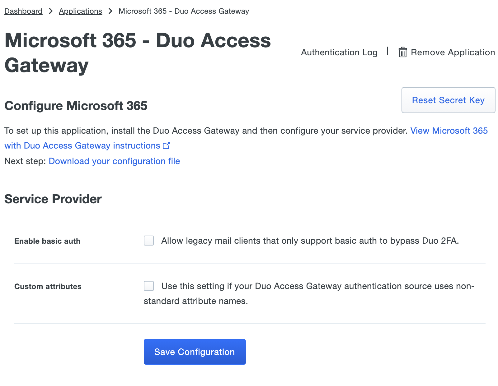 Duo Office 365 Application Settings