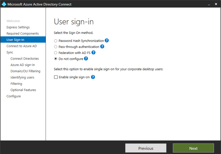 Microsoft Azure Active Directory Connect User sign in page