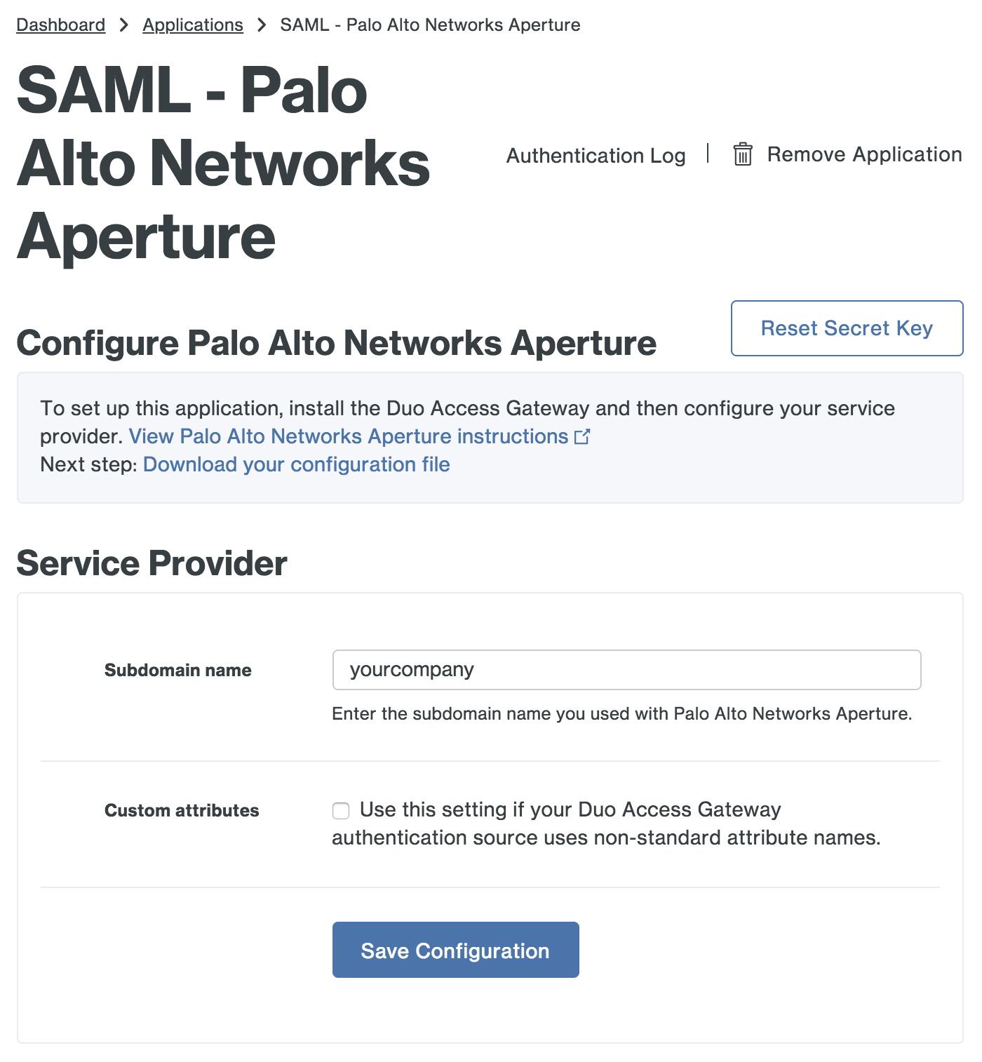 Duo Palo Alto Networks Aperture Application Settings