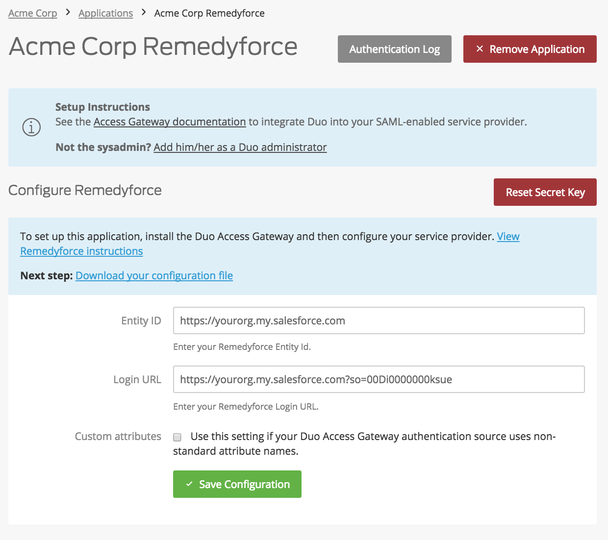 Duo Remedyforce Application Settings
