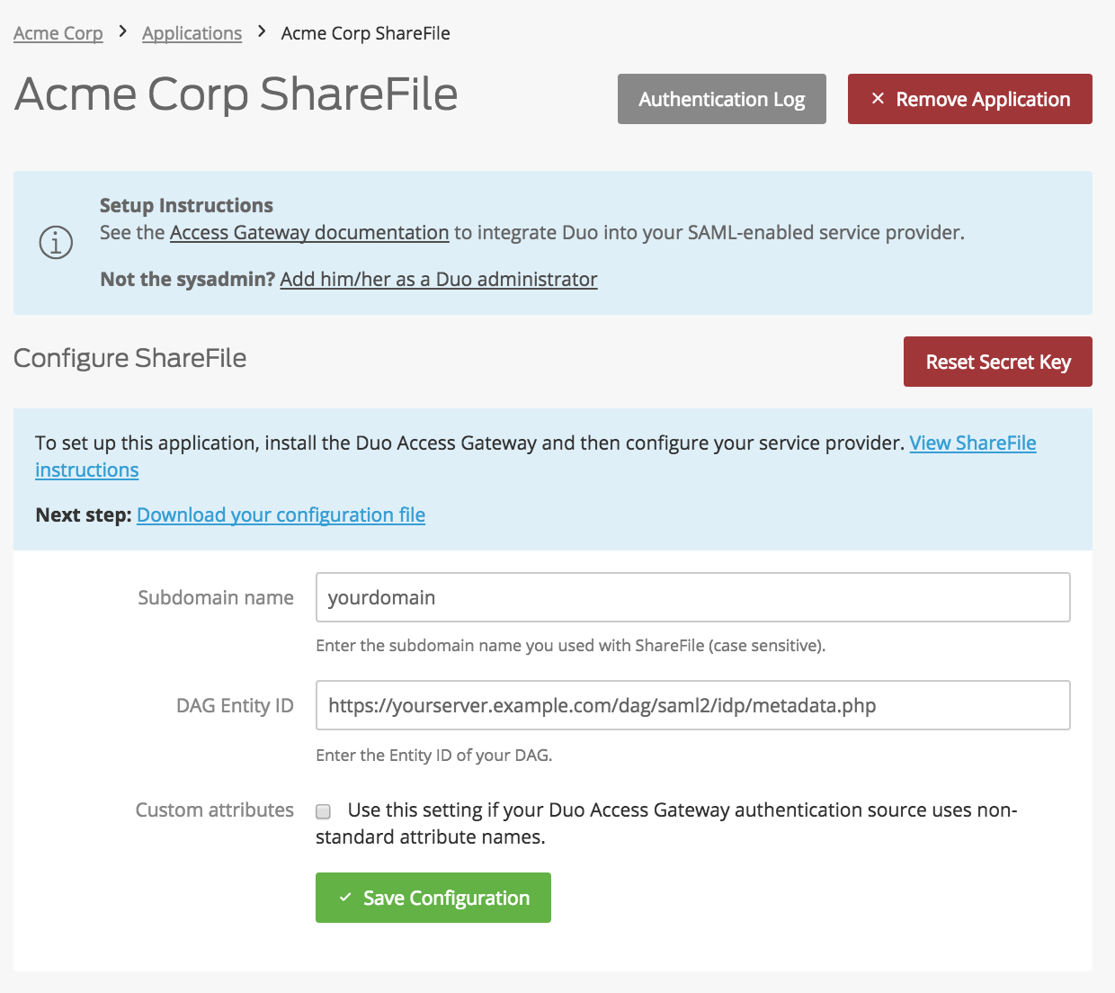 Duo ShareFile Application Settings