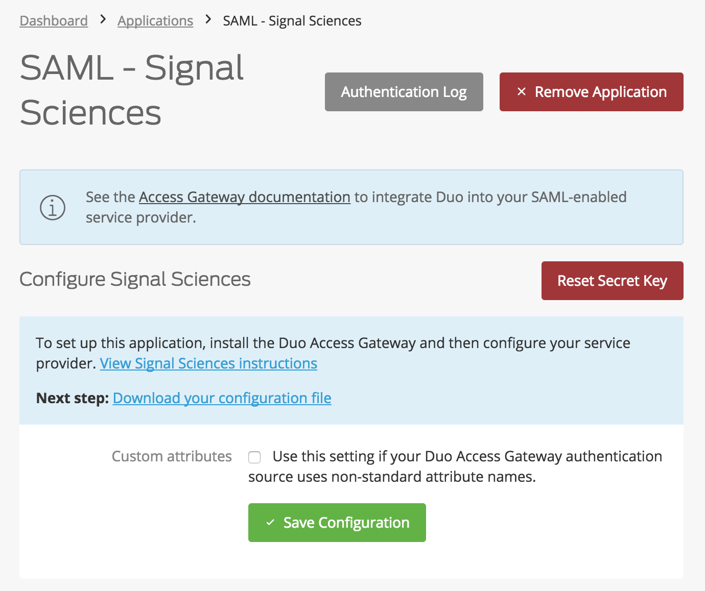 Duo Signal Sciences Application Settings