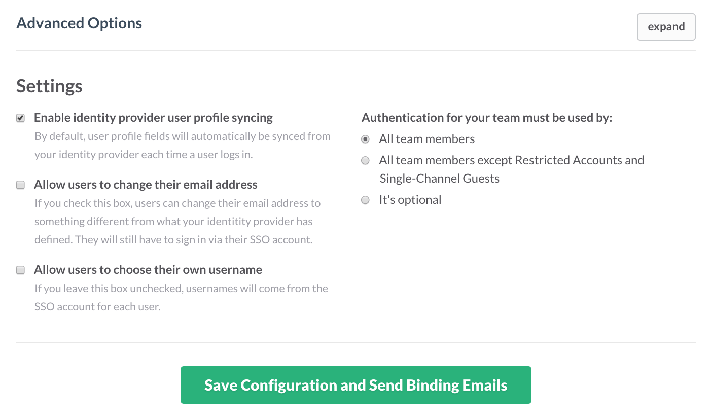 Slack Single Sign-On Additional Setting
