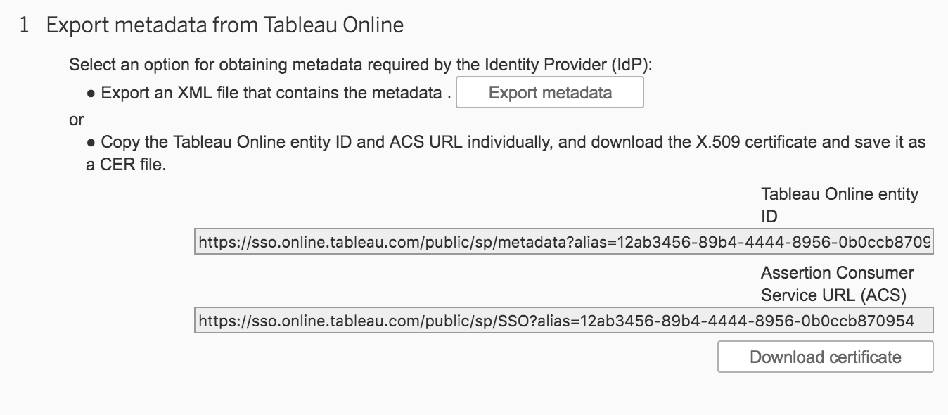 Tableau Online Single Sign-On Settings