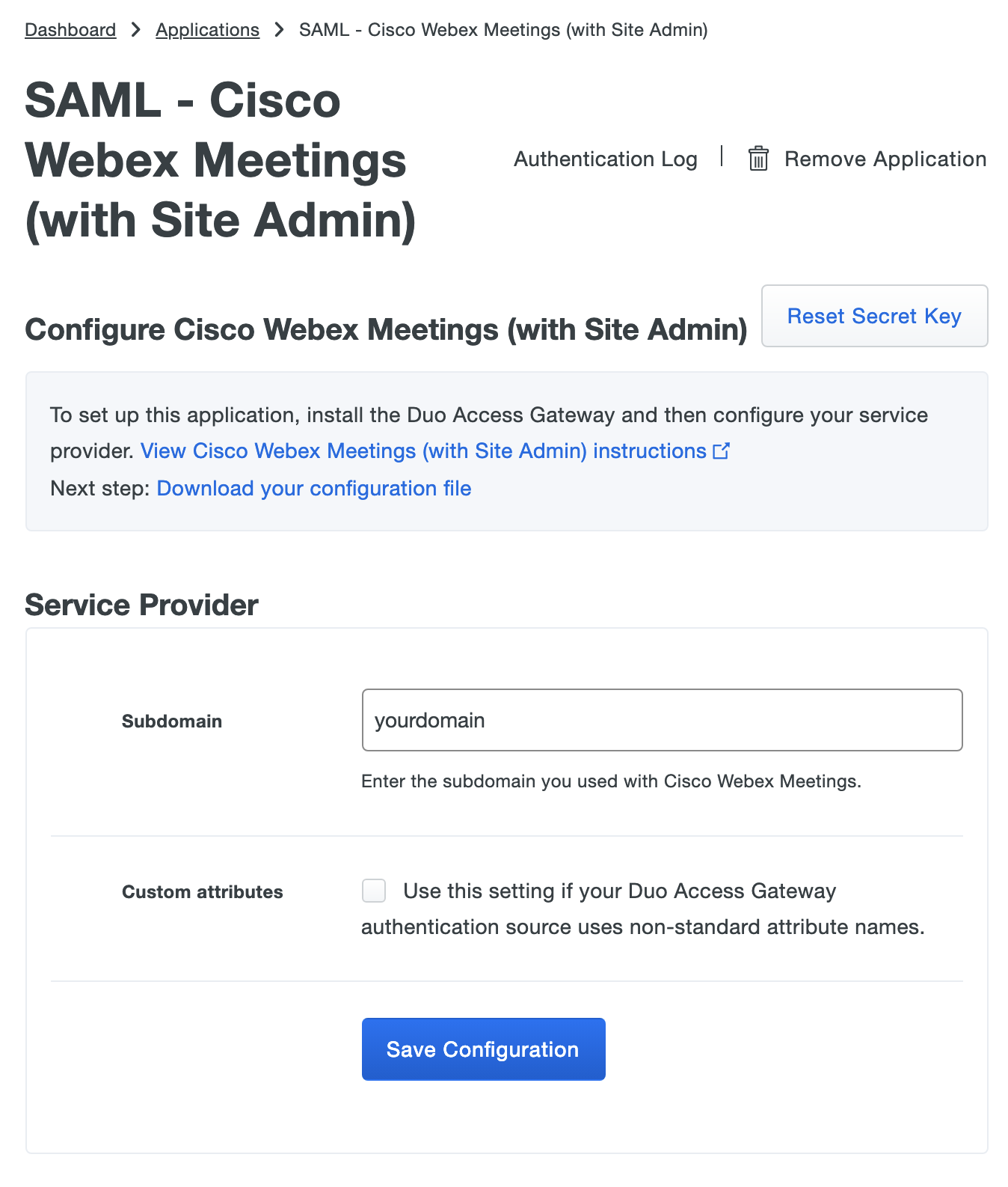 Duo Webex Meetings Application Settings