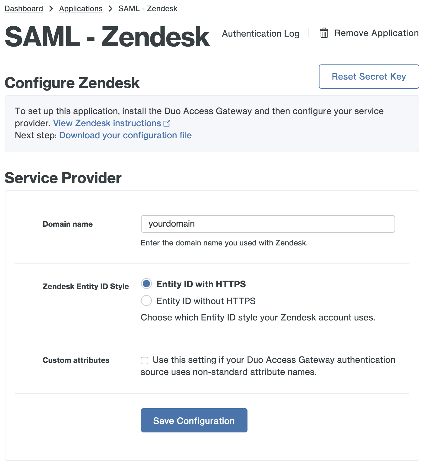 Duo Zendesk Application Settings