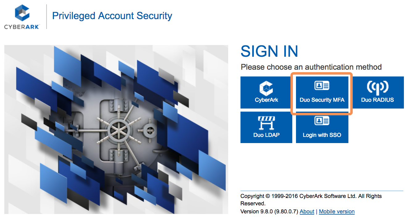 CyberArk Duo WebSDK Login - Choose Method