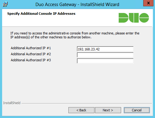 Duo Access Gateway Installation - Host