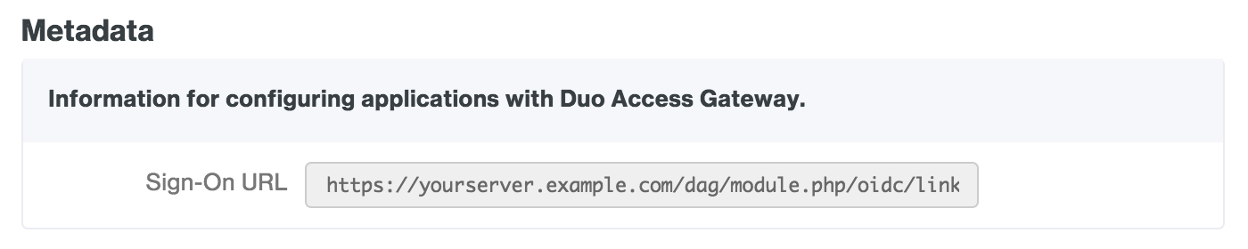 Duo Access Gateway Azure Sign-On URL
