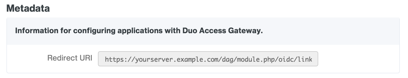 Duo Access Gateway Google Redirect URI