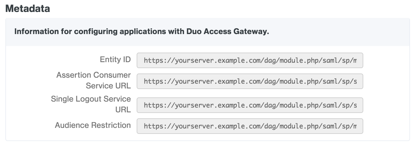 Duo Access Gateway SAML IdP Metadata