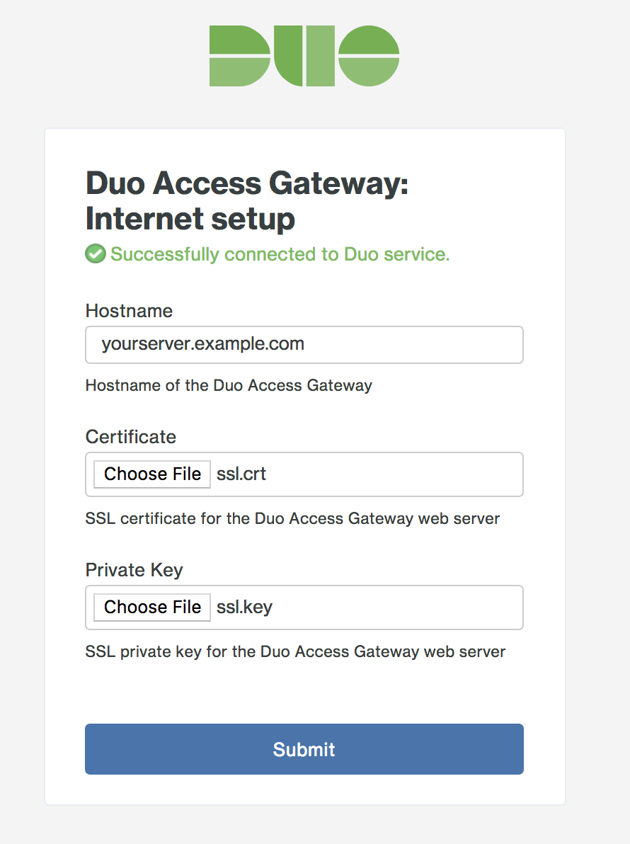Duo Access Gateway Initial set hostname page