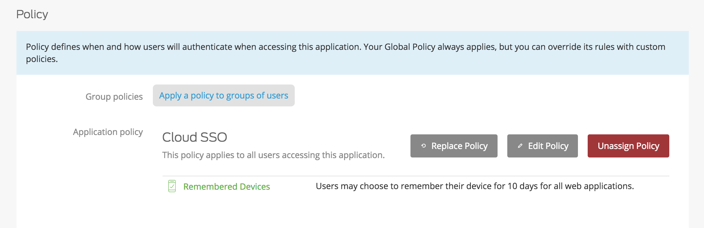 Cloud SSO Policy applied to Duo Access Gateway