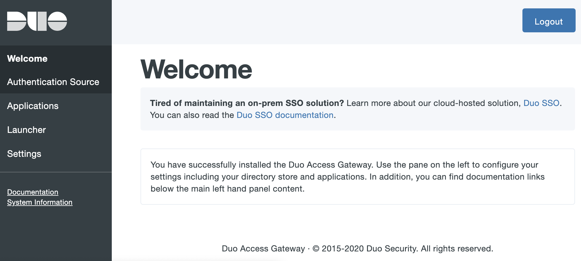 Duo Access Gateway Admin Console