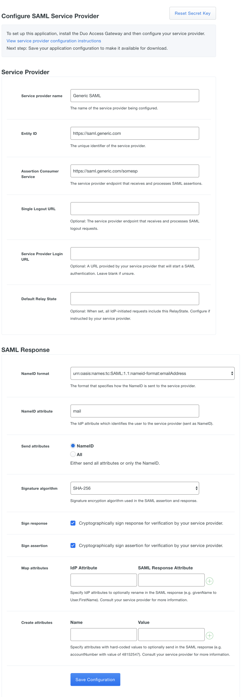 Duo Access Gateway - Generic SAML Service Provider   Duo