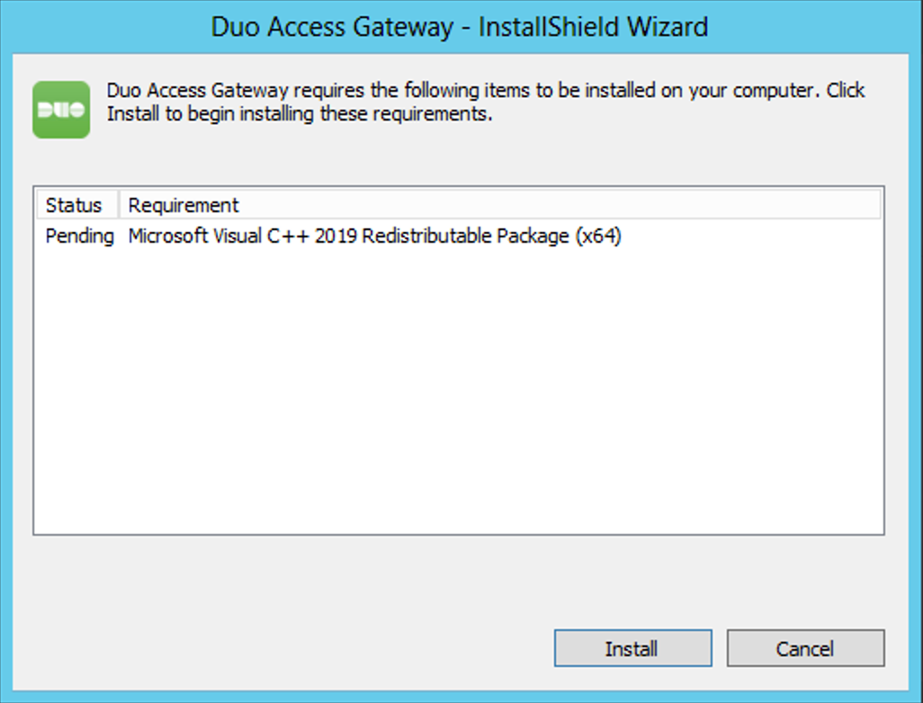 Duo Access Gateway Installation - Visual Studio C++ Redistributable