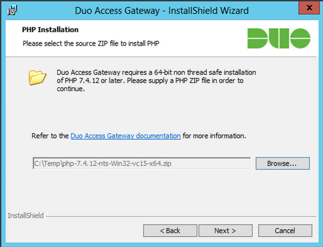 Duo Access Gateway Installation - PHP