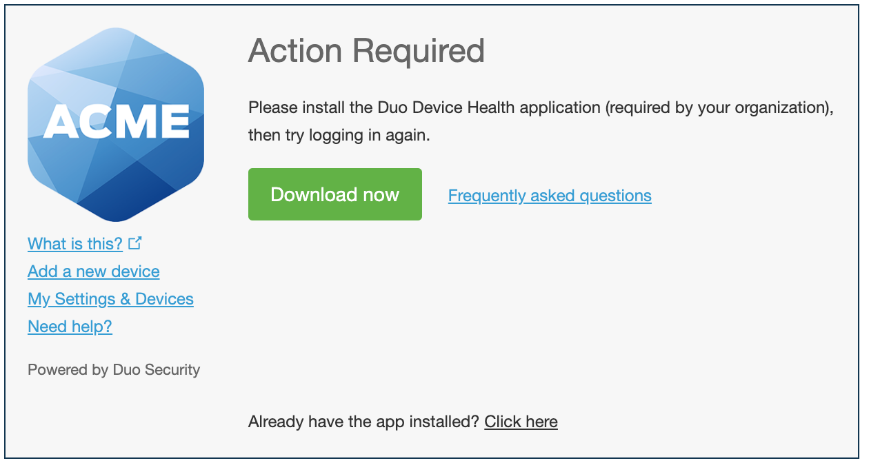 Duo Prompt with Device Health Install Prompt