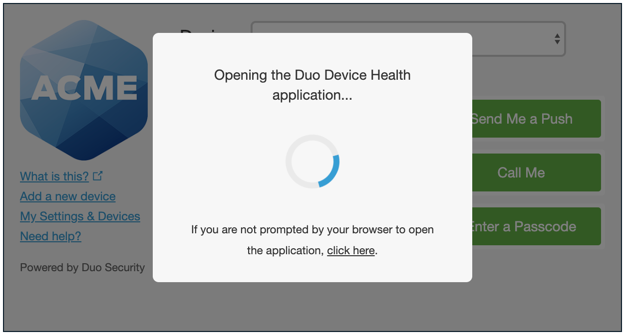 Duo Prompt with Device Health App Notice
