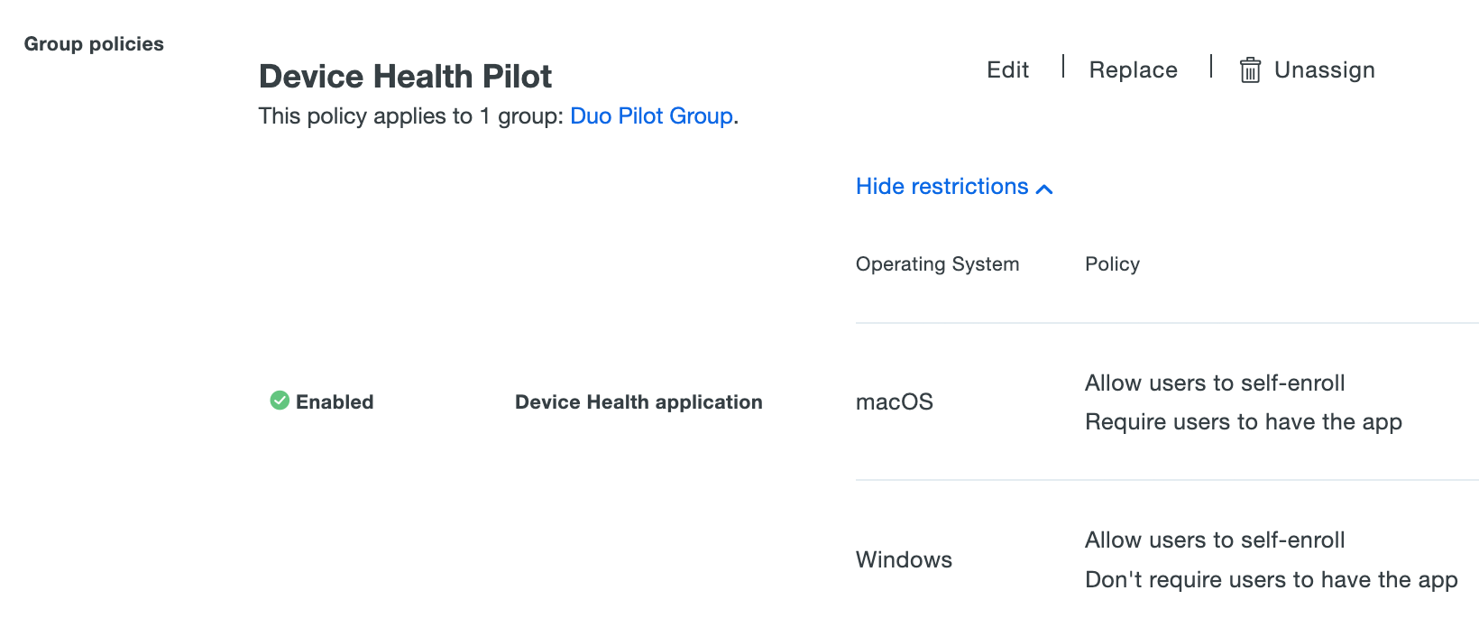 Applied Device Health Application Group Policy