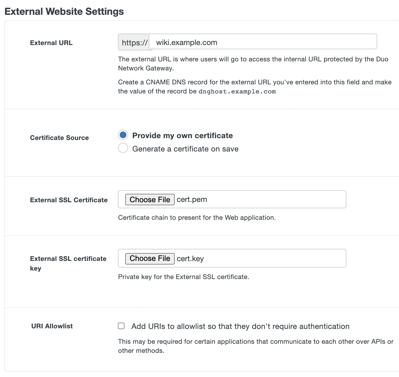 Configure external settings for Duo Network Gateway Application