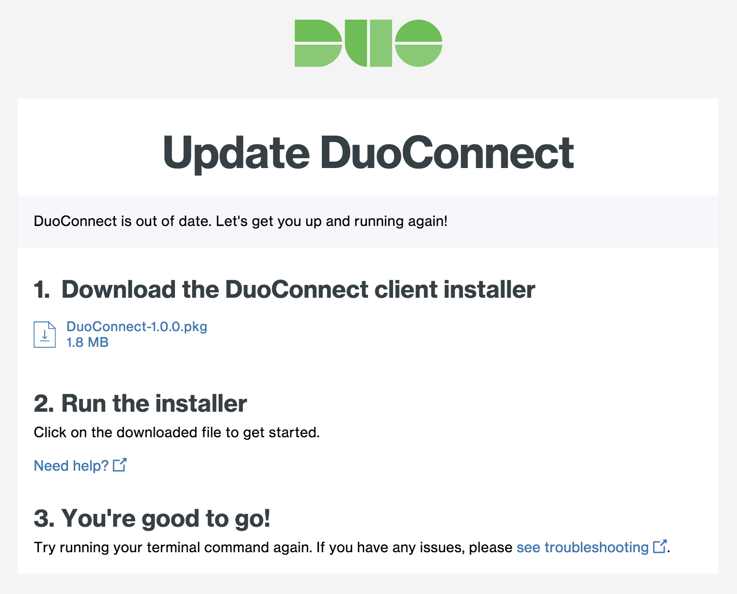 DuoConnect Upgrade Page