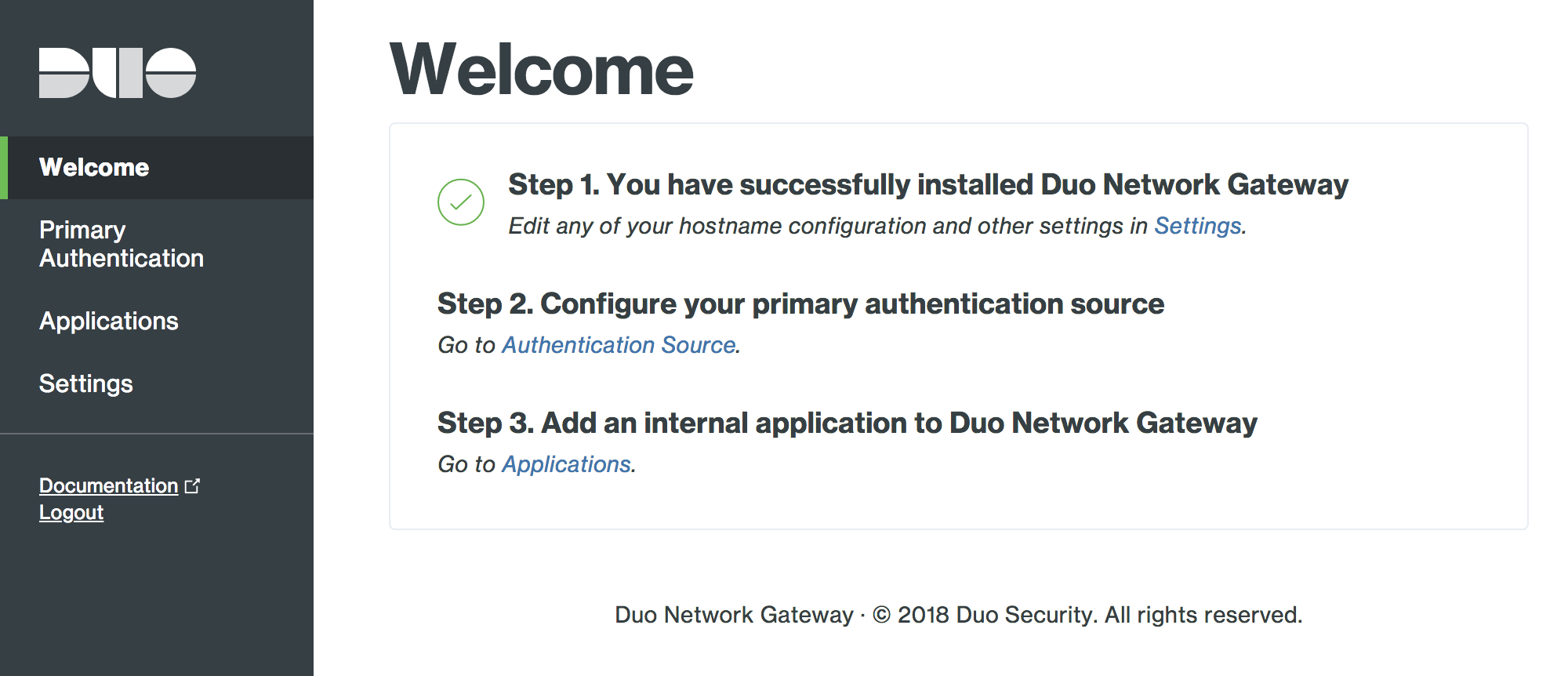 Duo Network Gateway home page