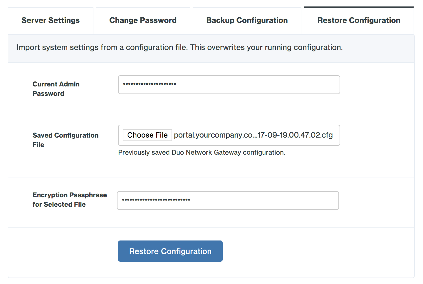 Restore Duo Network Gateway configuration