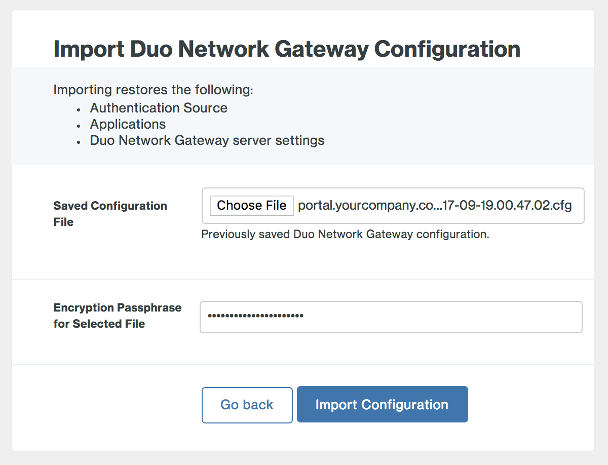 Restore Duo Network Gateway from initial configuration page