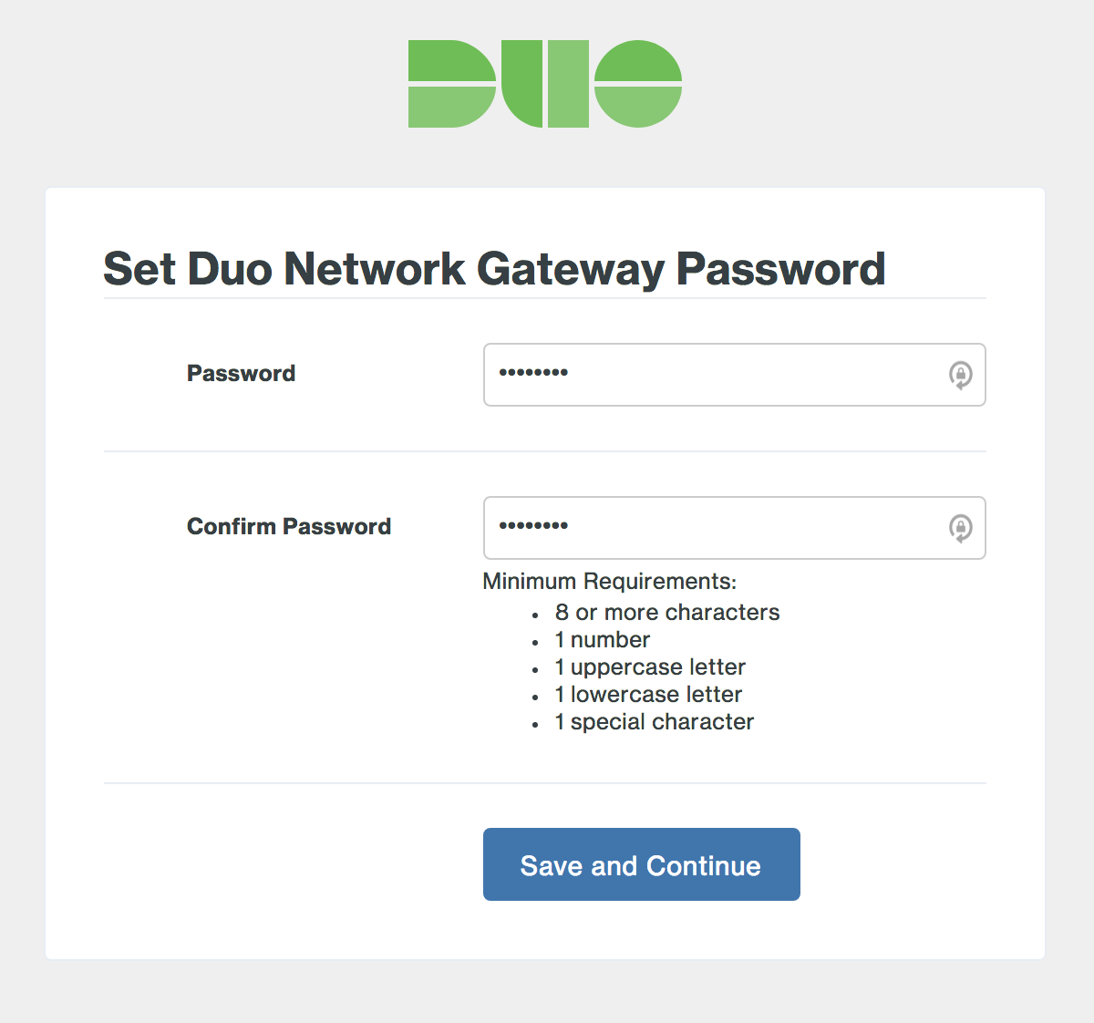 Duo Network Gateway Initial Set Admin Password page