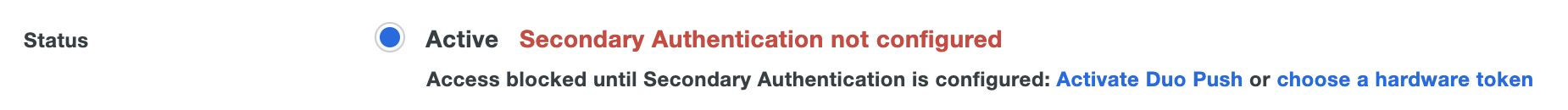 New Federal Admin Secondary Authentication