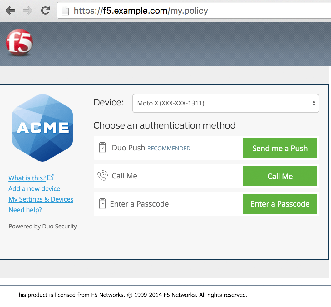 BIG-IP APM SSL VPM Login with Duo Prompt