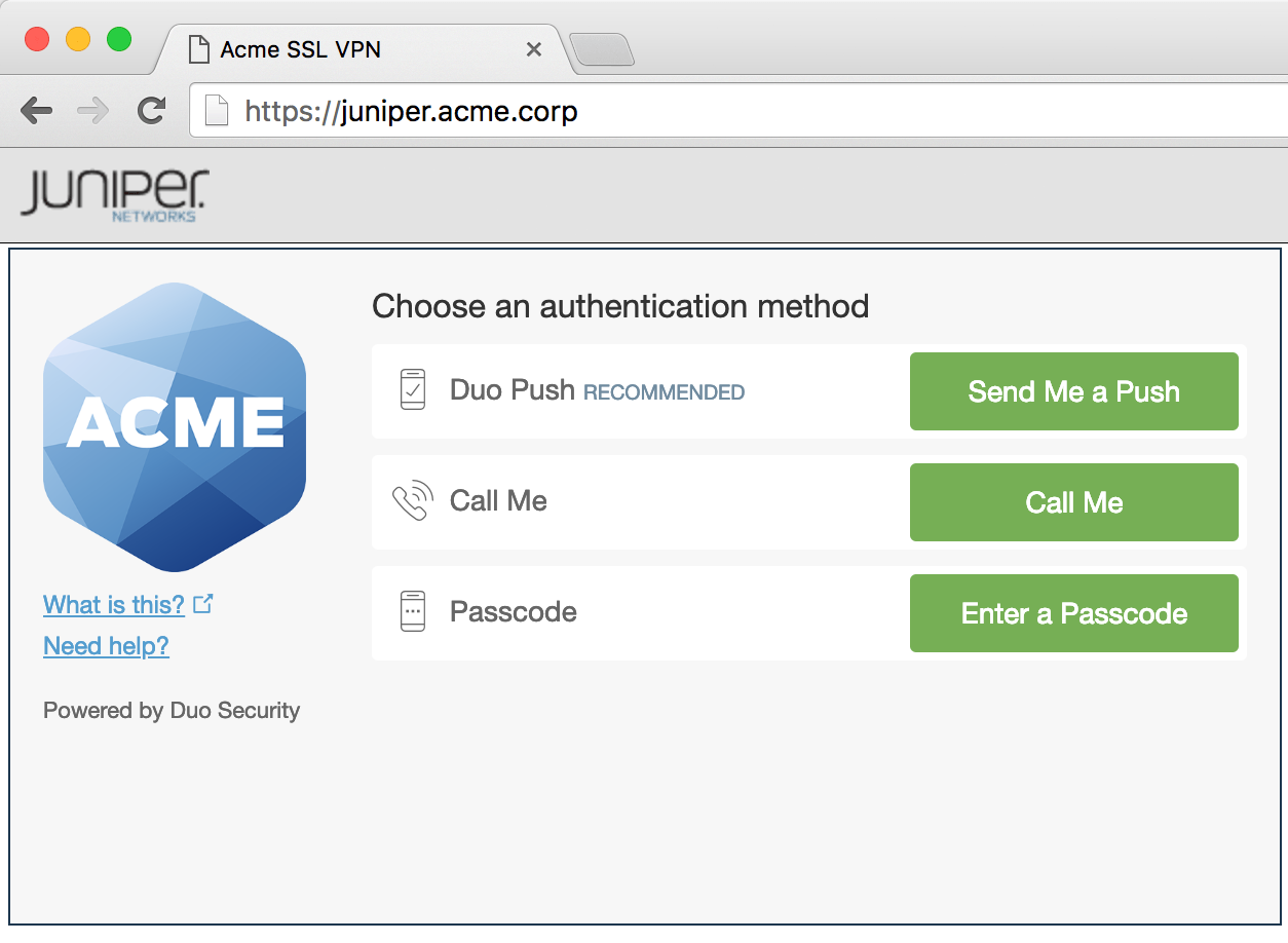 Juniper SSL VPN Authentication Prompt