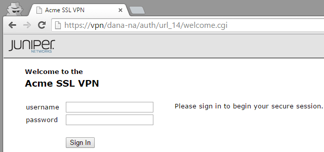 Customized Juniper SSL VPN sign-in page text