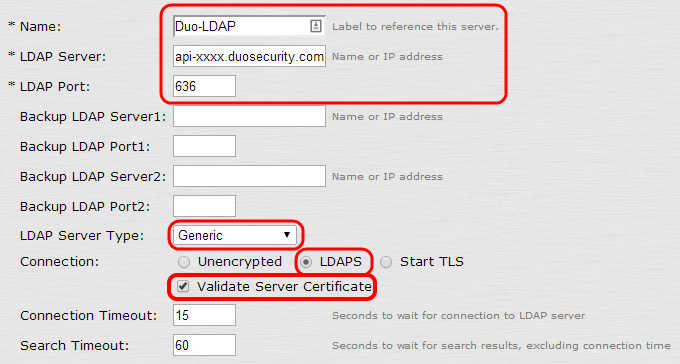 New LDAP Server Configuration