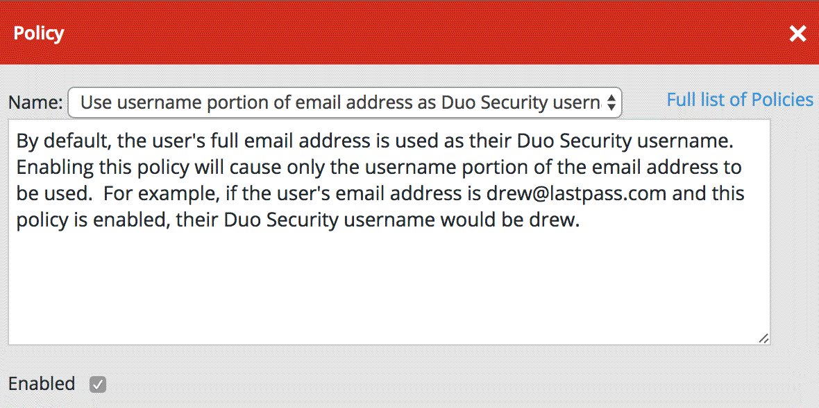 LastPass Duo Username Policy